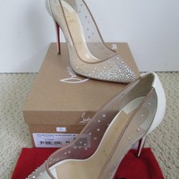 NIB Christian Louboutin Pigalle Follies Strass Crystal White Pointed Pumps 40 10