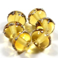Lampwork Beads Very Pale Amber Handmade Glass Shiny Silver 008gfs
