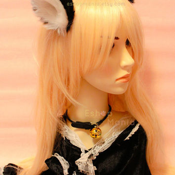 WHOLE cat ears fur hair clip / headband ,9 cm BLACK inner White,Kitty Wolf Cat Ear elf Gothic Hair Clip Cosplay Costumes Party Halloween