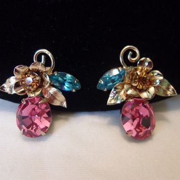 Coro Charmian Vintage Pink Glass Rhinestone Gold Plate Clip On Earrings 1950 Pristine