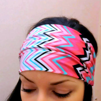 Chevron Tribal Headwrap pink zigzag with black and blue
