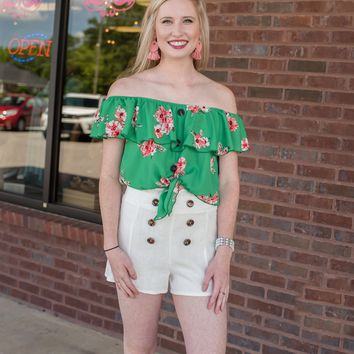 Whispering Pine Button-Up Shorts