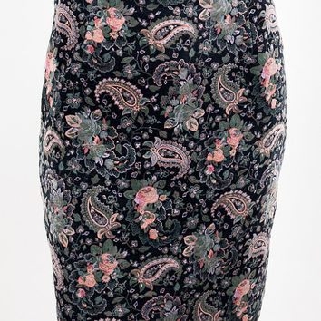 Vintage 90s Skirt / 1990s Black Cotton Velvet Floral Paisley Pencil Skirt S