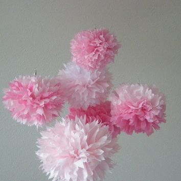 Sweet Jane ... tissue paper pom mobile // baby shower // nursery decoration // new baby // housewarming // bubblegum pink