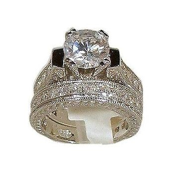 5 ct Round Cut Vintage Style Wedding Engagement Ring Set Sterling Silver