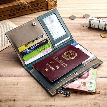 Women Men Genuine Leather Passport Storage Bag Card Holder Wallet
