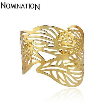 Slave Bangles Cuff Bracelets Gold Color Exaggerated Hollow Leaves Shape Alloy Wide Big Bangles For Women