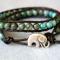 Green Agate Bohemian beaded leather bracelet, double, trendy jewelry, turquoise, blue, black, jasper, good luck elephant, small wrist