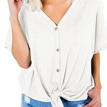 Lalala Womens Button Down Knitted Tops Short Sleeve Henley Shirt with Front Tie