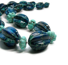 Huge Aqua Terra Jasper Necklace, Turquoise, Navy, Sterling Silver, Sea Sediment