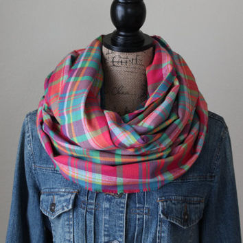 Brightly Colored Plaid Scarf, Spring Scar, Plaid Infinity Scarf, Winter Scarf, Womens Scarf, Chunky Scarf, Gift for Her