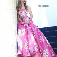 Sherri Hill 32128 Two-Piece Strapless Floral Design Ballgown Silhouette
