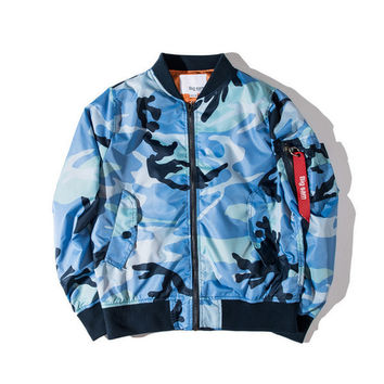Good Quality Newest Autumn Mens Blue Camouflage Windbreaker Jackets Thin Camo Outwear Casual Coat Men