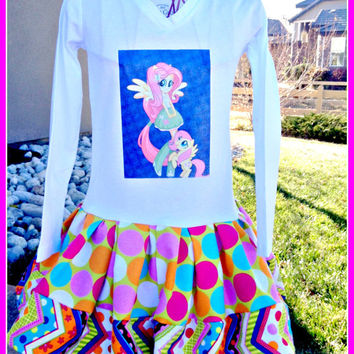girls Equestria Girl My Little Pony Fluttershy graphic tee knit twirl party Dress layers of ruffle size 4/5 last one