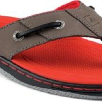 Sperry Top-Sider Baitfish Thong Sandal Taupe/Red, Size 9M  Men's Shoes
