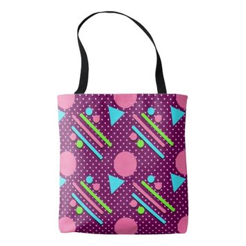 Retro Party Pattern Purple Tote Bag
