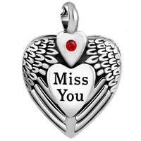 """Cremation Jewelry """"Miss You"""" Urn Necklace"""