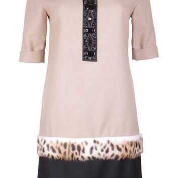 Beige & Black Fur Trim Dress