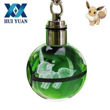 Eevee Novelty Mini Portable  Engraving Round 3D Crystal Glass Ball LED Keychain Colorful Pendant Child Gift