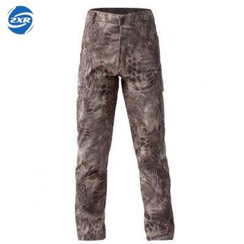 Shark Skin Softshell Outdoors Tactical Military Camouflage Pants Men Winter Army Waterproof Thermal Camo Fleece hiking Pants