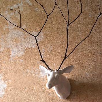 Wall Mount Ceramic Deer Head ~ White