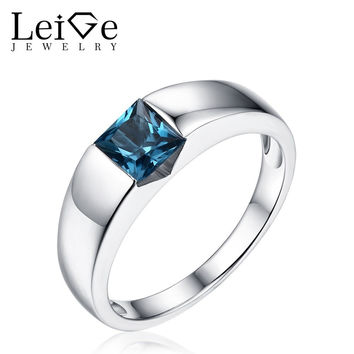 LEIGE JEWELRY SOLITAIRE GEMSTONE RING SILVER 925 BEZEL SETTING LONDON BLUE TOPAZ RINGS FOR WOMEN WEDDING ANNIVERSARY GIFT