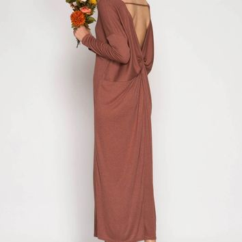 Long Sleeve Maxi Dress with Open Back Twist