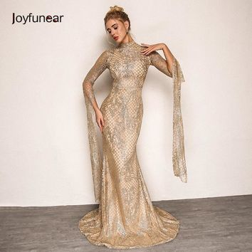 Joyfunear Women Vintage Long Party Dress 2018 Summer Autumn New Elegant Floral Gold Sequin Dress Women Bodycon Dresses Vestidos