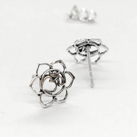925 Sterling Silver Ohm in Lily Flower Earrings, Yoga Jewelry, Lily jewelry, Aum jewelry, Lily and aum studs, Tragus Helix Cartilage Studs