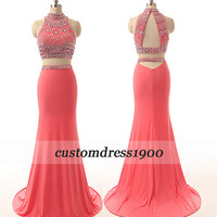 Pink prom dress,long prom dress,handmade beading/crystal chiffon formal women dress/bridesmaid dress/evening dress