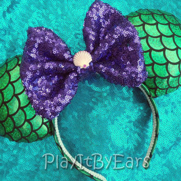 "Handmade Disney Princess ""Ariel"" Little Mermaid Mouse ears headband inspired by Disney"