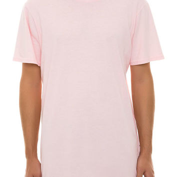 The Elongated Tall Drop Tail Tee in Shy Pink
