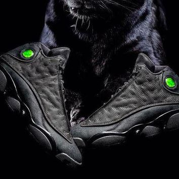 DCCK Air Jordan 13 Black Cat GS Basketball Sneaker Size US 5.5-13