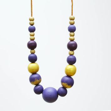 Purple gold extra large necklace, chunky wooden beads, pastel OOAK necklace, wood hand painted pastel necklace