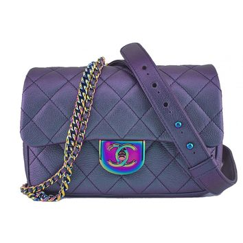 "Chanel Iridescent Rainbow ""Mermaid"" Purple Double Carry Classic Flap Bag"