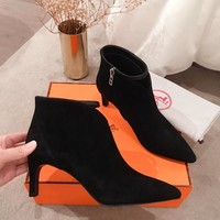 HERMES Trending Women Fashion Black Leather Zipper lace up Heels FLAT Boots High Top Shoes Winter Autumn