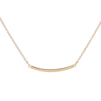 2016 New Fashion Gold Floating Charm Young Chain Bent Curved Bar Necklaces for Women Cute Tiny Necklace N105