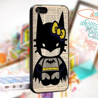 Hello Kitty Batman Custom - JDC076 - Cover Black Border - iPhone 4 / 4S - iPhone 5 Case - Black / White / Clear