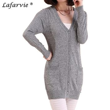Lafarvie 2017 Spring Autumn Cashmere Knitted Sweater Women Medium-long Female Cardigan Wool Loose Long-sleeve Plus Size Pull