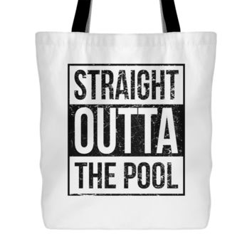 Straight Outta The Pool - Swimming Tote Bag, 18 inch x 18 inch