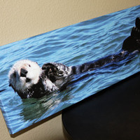 Sea Otter Canvas Panoramic Photo Canvas 8x24 Fine Art Canvas Nature and Wildlife Photography