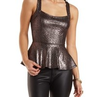 Snake-Textured Metallic Peplum Top by Charlotte Russe - Pewter