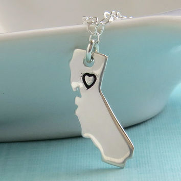 State of California Necklace,Stamped Heart, Sterling Silver, Northern California, Southern California, Central California, California Love