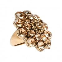 Boutique 1 - Oscar de la Renta - Gold Crystal Flower Ring | Boutique1.com
