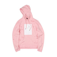"15SS ""MARSHMALLOW"" PINK PAINT DESTROYED HOODIE"