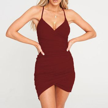 Summer Fashion Women Pure Color V Collar Sleeveless Backless Sling Dress Burgundy