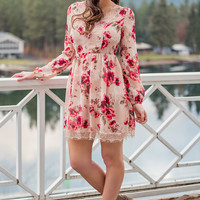 Dear Beverly Lace Up Back Detail Dress (Taupe/Coral)