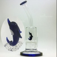 small dolphin bong Two Functions Funny Colorful Animal glass water pipes Green Turtle Eagle Frog Swan Honeycomb dab Oil Rigs