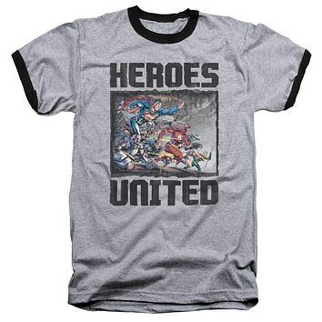 Mens Justice League of America Heroes Unite Ringer T-Shirt