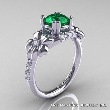 Nature Inspired 14K White Gold 1.0 Ct Emerald Diamond Leaf and Vine Engagement Ring R245-14KWGDEM